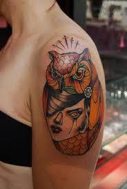 tattoo girl owl owl girl head tattoo on girl bicep