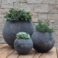 lava stone circular plant pots gardening and living concrete