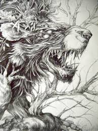 nature fantasy beast animal lion brach tree hybrid creature art