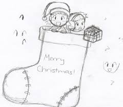 christmas stocking sketch by wolflover1250 on deviantart
