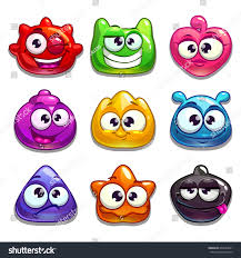 funny cartoon jelly characters isolated on stock vector 628424861