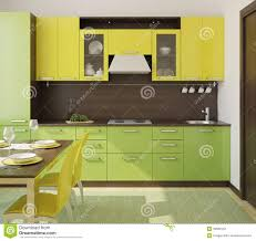 recommended black green yellow kitchen modern interior render