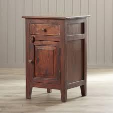 nightstand appealing rustic dark brown glossed wood narrow