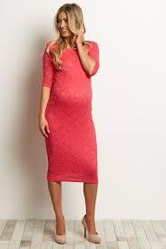 fuchsia ivory lace maternity dress
