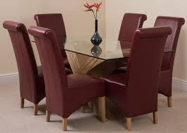 valencia dining set with 6 burgundy chairs modern furniture direct