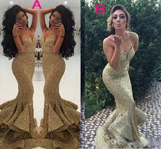 2017 gold arabic sequins mermaid split evening dresses spaghettis