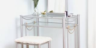 Mirrored Glass Nightstand Desk Modern Bedroom With Mirrored Nightstand And Three Drawer