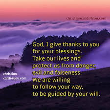 god i give thanks to you for your blessings prayer