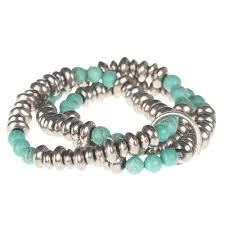 bracelet silver turquoise images Shop ladies 3 strand silver turquoise bead stretch bracelet nrs jpg