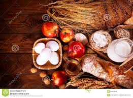 farmers natural organic products on wooden background stock photo