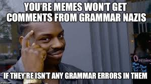 Grammer Nazi Meme - you re memes won t get comments from grammar nazis if they re isn t