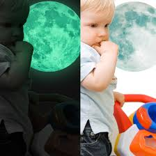 30cm luminous moon glow in the dark wall stickers moonlight home