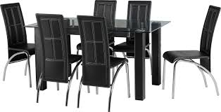 Dining Set Stanton Dining Set A3 Chairs In Clear Glass Black Pvc Chrome By