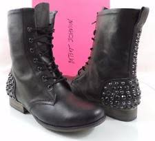 womens black combat boots size 9 s lace up combat flat 0 to 1 2 in block boots ebay