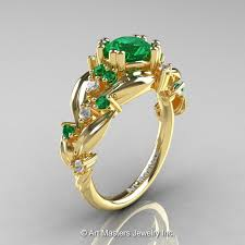 gold emerald engagement rings nature inspired 14k yellow gold 1 0 ct emerald leaf and