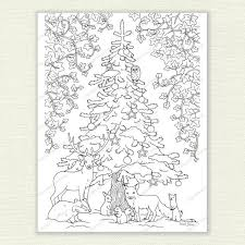 printable colour christmas picture winter woodland