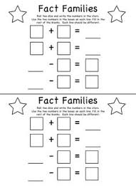fact families dice game roll the dice and write in the 2 numbers
