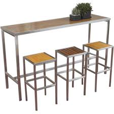 stainless steel bar table hayman outdoor high bar table stainless steel and teak wood urban