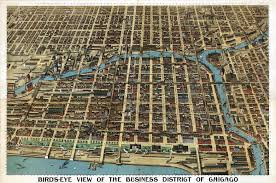 Chicago Tolls Map by Chicago Business District Birds Eye View 1898 Wall Map Mural