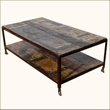 Rustic Walnut Coffee Table Rustic Walnut Weathered Two Tier Coffee Table On Rollers Tables
