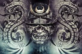 japanese mask and snakes design grey background