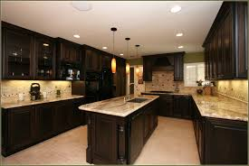 cream colored kitchen cabinets with dark island home design ideas