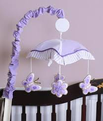 Butterfly Nursery Bedding Set by Geenny Lavender Butterfly Musical Mobile Baby Nursery Decor