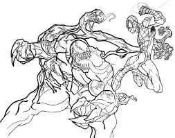 venom vs carnage coloring pages spiderman printable sheets