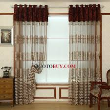 gold embroidery pattern coffee color organza sheer curtain loading zoom