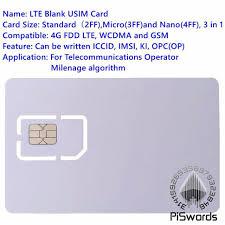 cheap wholesale piswords sim usim card 4g lte wcdma gsm blank mini