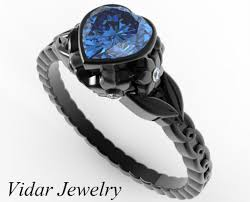 black sapphire rings images Black gold sapphire heart and flowers engagement ring vidar jpg