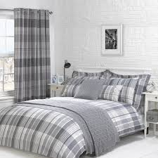 kennedy charcoal grey luxury check duvet cover julian charles