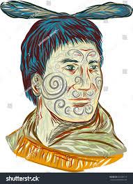 drawing sketch style illustration maori chief stock illustration