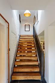 Brick Stairs Design Stair Design Staircase Farmhouse With Metal Pipe White Painted