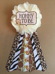 safari jungle monkey baby shower pin mommy to be pin flower