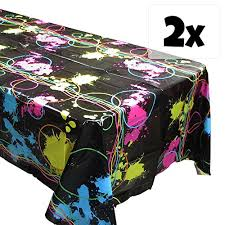 glow in the party supplies glow party tablecovers 2 glow birthdays party supplies black