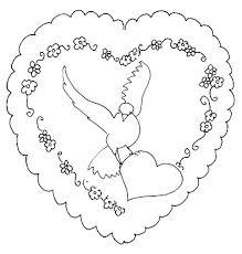 coloriage Saint Valentin  colombe et coeurs Tête à modeler