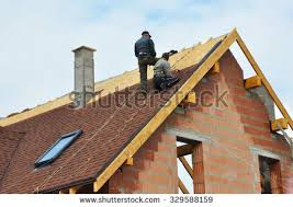 building new house roofing construction building new brick house stock photo