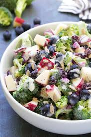no mayo broccoli salad with blueberries and apple recipe video