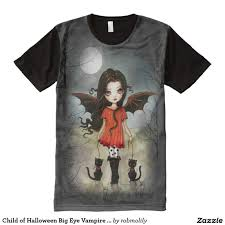 child of halloween big eye vampire and black cats all over print t