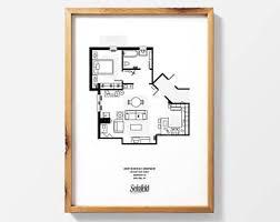 seinfeld apartment floor plan seinfeld print etsy