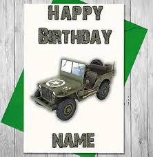 personalised military jeep birthday card son daughter boy dad