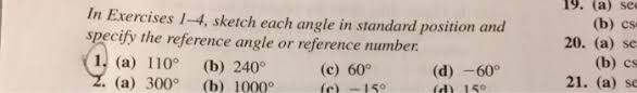 sketch each angle in standard position and specify chegg com