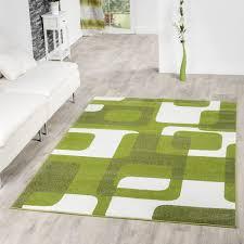 Wohnzimmer Modern Retro Wohnzimmer Teppich Modern Grün Grau Weiß Retro Muster Kurzflor
