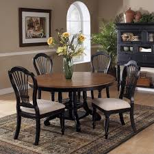 Hillsdale Embassy Round Pedestal Dining Table In Rubbed Black - Black dining table for 4