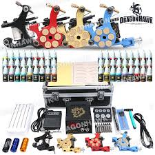 professional tattoo kit 4 machine gun power supply 56 color inks