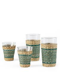 recycled glass meets woven seagrass holders it u0027s a toast to the