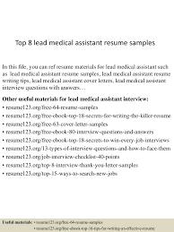 sample of medical assistant resume top8leadmedicalassistantresumesamples 150601110600 lva1 app6892 thumbnail 4 jpg cb 1433156809