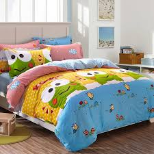 Bedding Sets For Girls Print by Orange Blue And Lime Green Frog Print Cartoon Cute Style 100