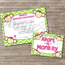adopt a monkey or mod monkey adoption certificate and sign set